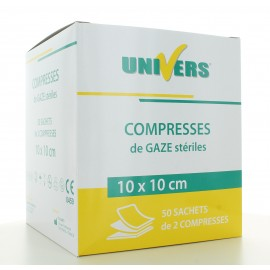 Compresse de Gaze Stériles Univers 10X10cm 100 pièces