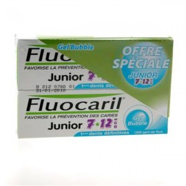 Dentifrice Fluocaril Junior 6-12 ans Gel Bubble 2X75 ml