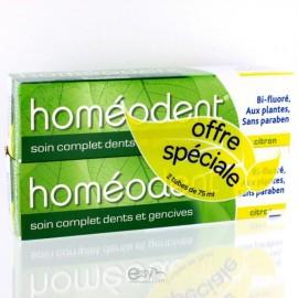 Dentifrice Bi-fluoré Homéodent Citron 2X75 ml