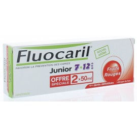Dentifrice Fluocaril Junior 6-12 ans Fruits Rouges 2X75 ml