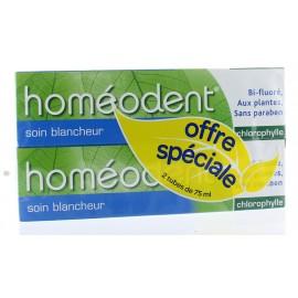 Dentifrice Bi-fluoré Soin Blancheur Homéodent Chlorophylle 2X75 ml