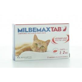 MILBEMAX TAB VERMIFUGE SPECTRE LARGE CHAT 2 kg et plus - 2 COMPRIMES
