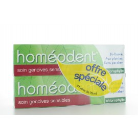 Dentifrice Bi-fluoré Soin Gencives Sensibles Homéodent Chlorophylle 2X75 ml