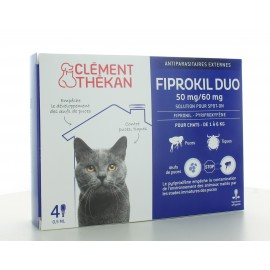 Fiprokil Duo Chat 1-6 kg 50mg/60mg 4 pipettes