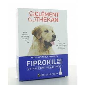 Fiprokil 268 mg Grands Chiens Clément Thékan 4 pipettes